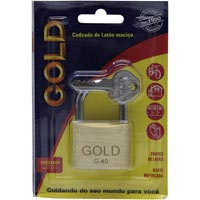 CADEADO 40MM GOLD CARTELA - Cod.: 105103