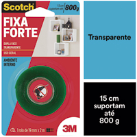 FITA DUPLA FACE TRANSP FIXA-FORTE 19MMX2M 3M - Cod.: 118074