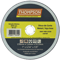 DISCO CORTE INOX 7X1,6 THOMPSON - Cod.: 97514